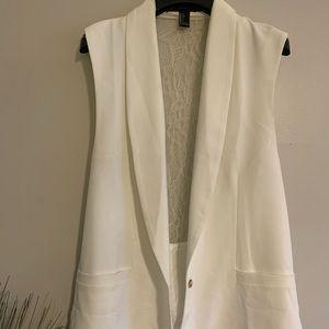 White Lace Single Button Vest